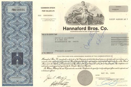Hannaford Bros Co.  stock certificate 1995  (supermarket chain)