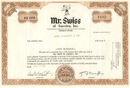 Mr Swiss of America stock certificate 1970 brown
