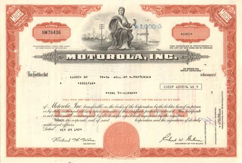 Motorola Inc. stock certificate 1979