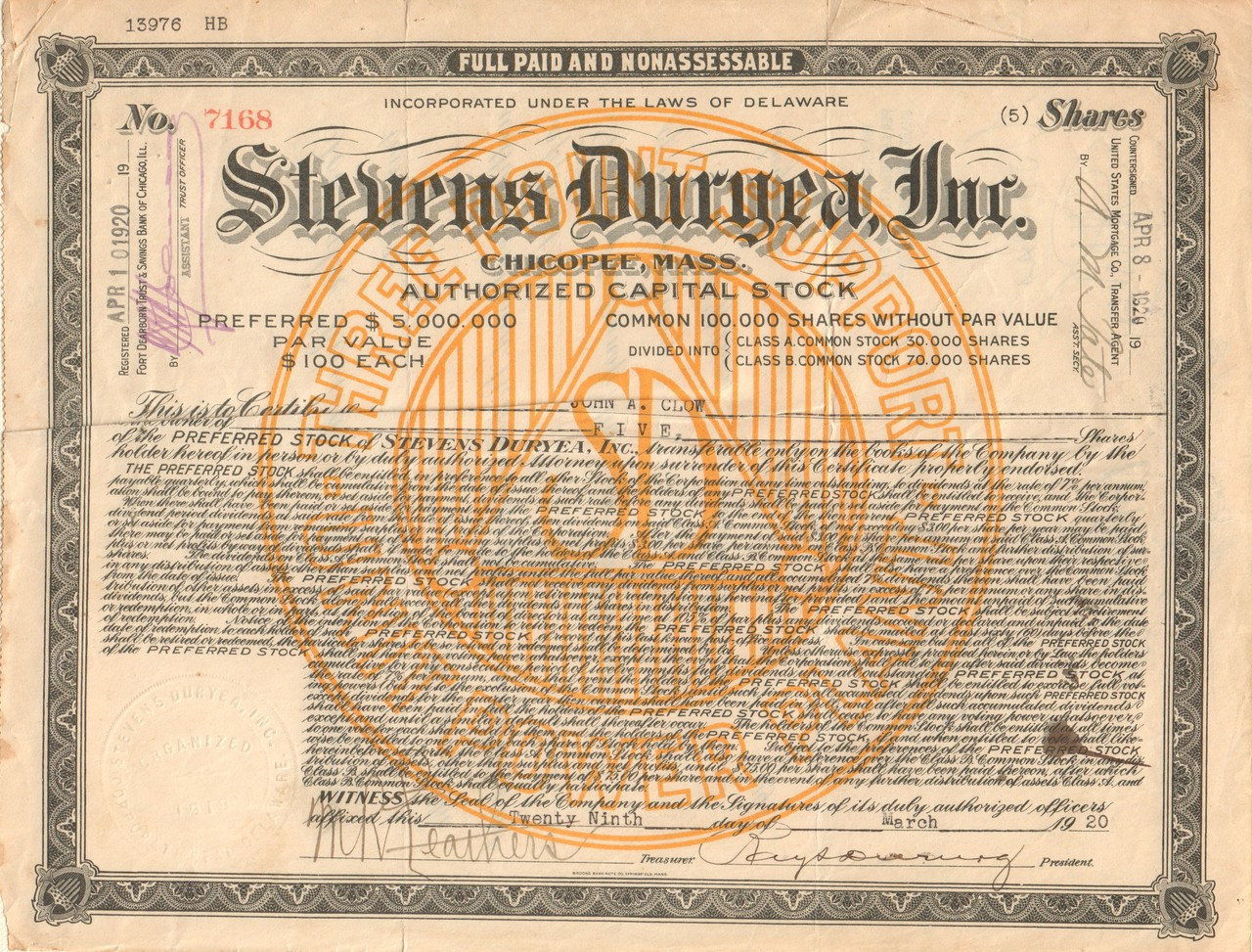 Baker Oil Tools Inc Stock Certificate