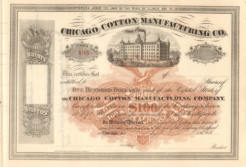Chicago Cotton Manufacturing stock certificate circa 1872