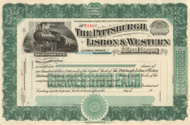 The Pittsburgh, Lisbon, and Western stock certificate circa 1902 - green