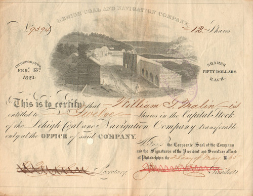 Lehigh Coal and Navigation Company stock certificate 1865