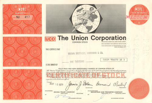 The Union Corporation stock certificate 1970's - red