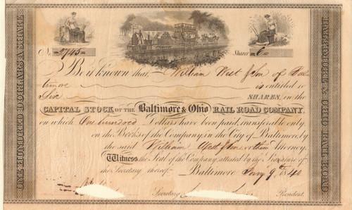 Baltimore & Ohio Rail Road stock certificate 1840