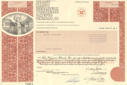 First Virginia Banks stock certificate 1980's