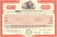 MCI Communications Corporation bond certificate 1986