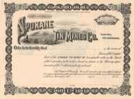 Spokane Tin Mines Co. stock certificate circa 1905