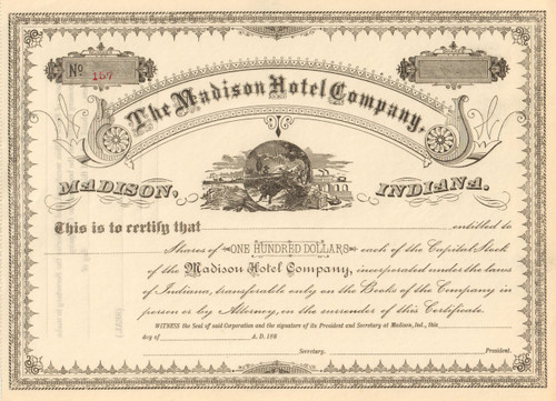 The Madison Hotel Company stock certificate 1880's (Madison, Indiana)