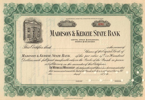 Madison and Kedzie State Bank stock certificate circa 1920 (Chicago, IL)