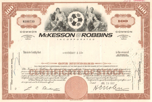 McKesson-Robbins Inc. stock certificate 1960's  - brown