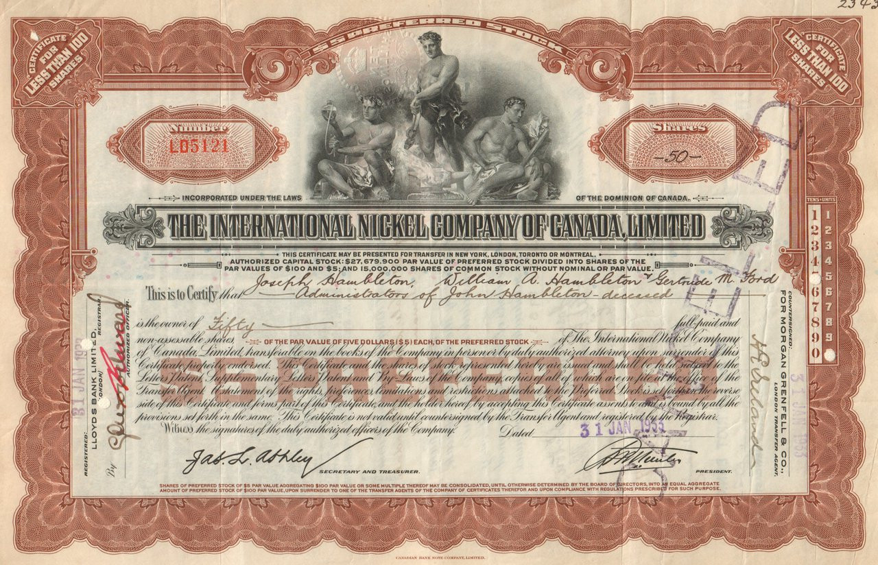 fe513e9a International Nickel Company of Canada Limited stock certificate 1930's -  brown