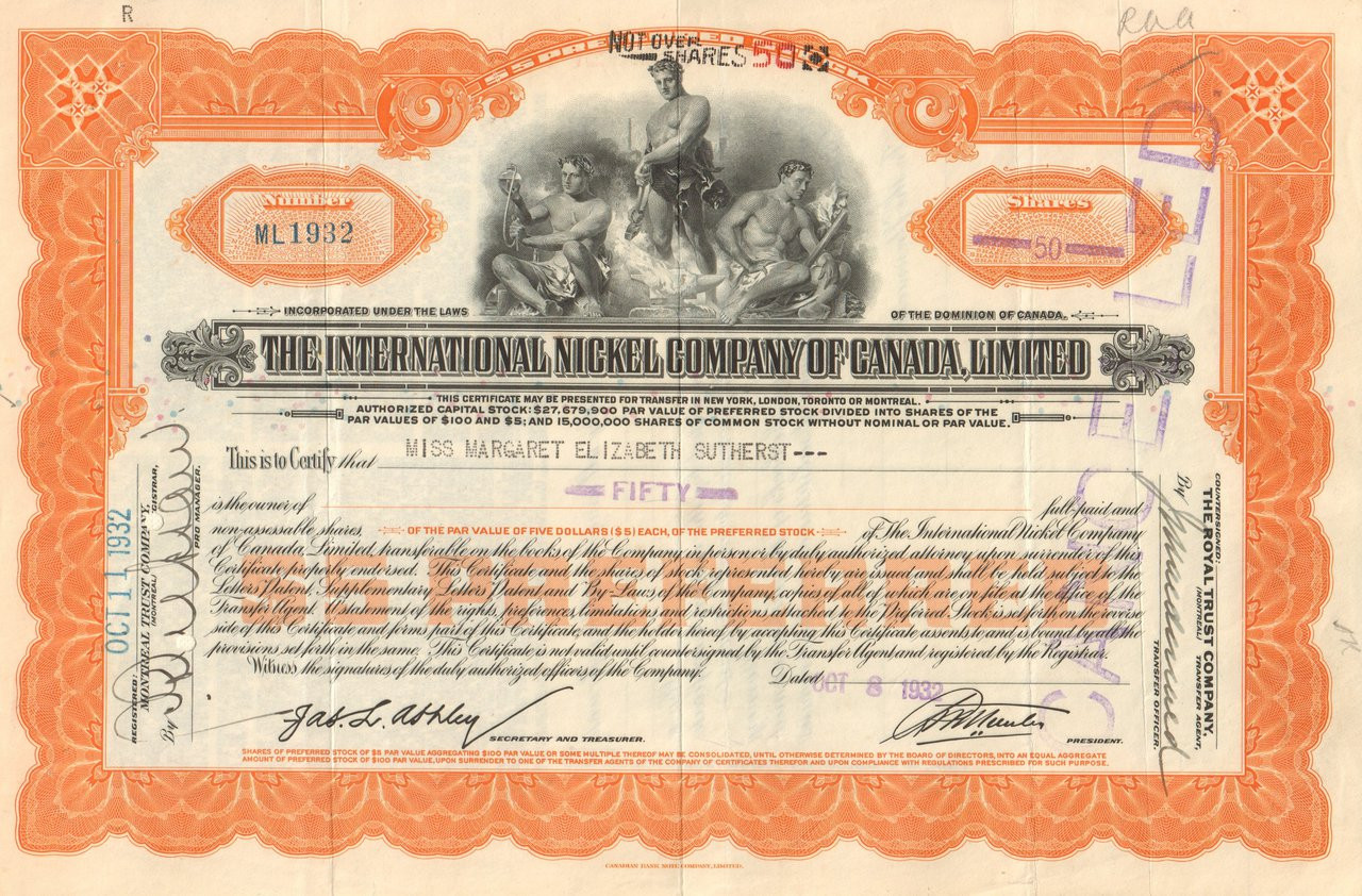 e27accb7 International Nickel Company of Canada Limited stock certificate 1930's