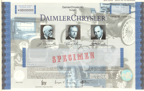 Daimler Chrysler AG stock certificate specimen  (Benz, Dodge, Chrysler cars)