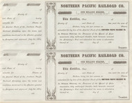 Northern Pacific Railroad subscription certificate circa 1864 (set of 2)