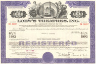 Loew's Theatres Inc. bond certificate 1960's - 1970's - purple