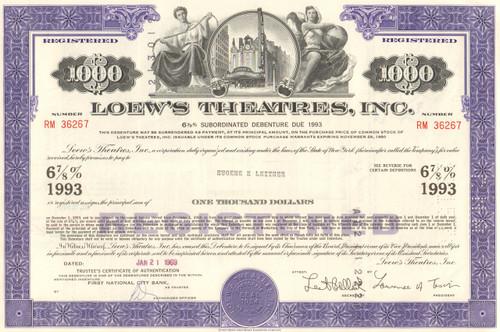Loew's Theatres Inc. bond certificate 1960's - 1970's - purple