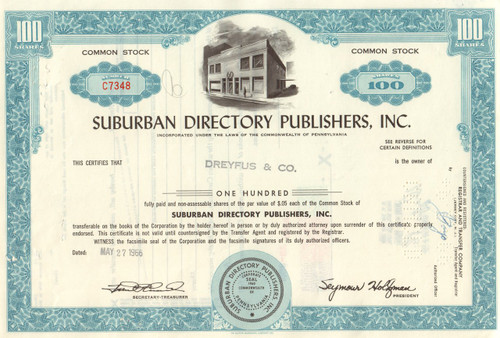 Suburban Directory Publishers stock certificate 1960's  - blue
