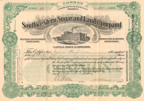 Southwestern Sugar and Land Company stock certificate 1910 (Arizona sugar beets) - green