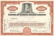 Central of Georgia Railway Company stock certificate 1950's - brown