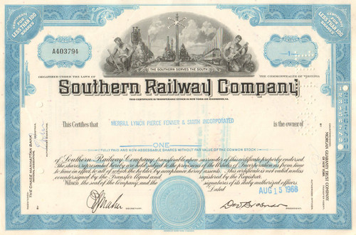 Southern Railway Company stock certificate 1960's - blue
