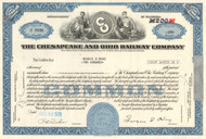 Chesapeake and Ohio Railway Company stock certificate 1970's - blue