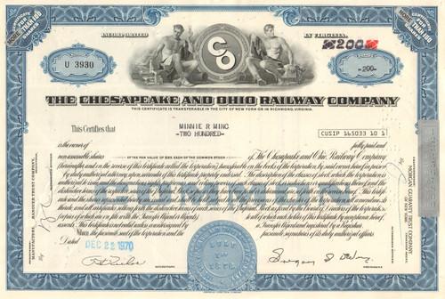 Chesapeake and Ohio Railway Company stock certificate 1970's - blue