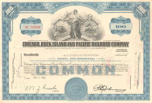Chicago, Rock Island, and Pacific Railroad Company stock certificate 1960's - blue