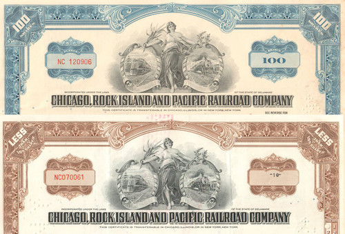 Chicago, Rock Island, and Pacific Railroad Company stock certificate 1960's - set of 2 colors