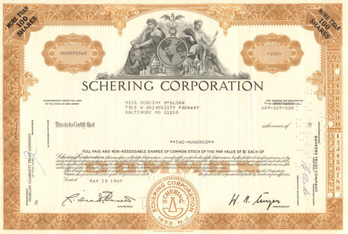 Schering Corporation stock certificate 1960's (now part of Merck)