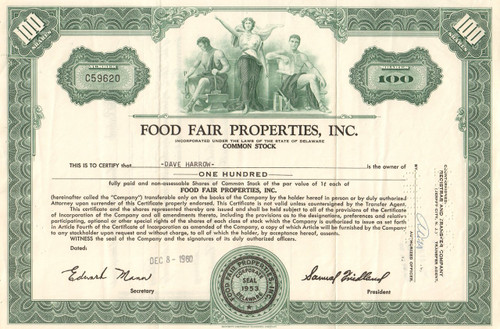 Food Fair Properties Inc. stock certificate 1960's - green