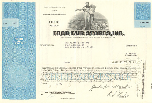 Food Fair Stores Inc. stock certificate 1970's