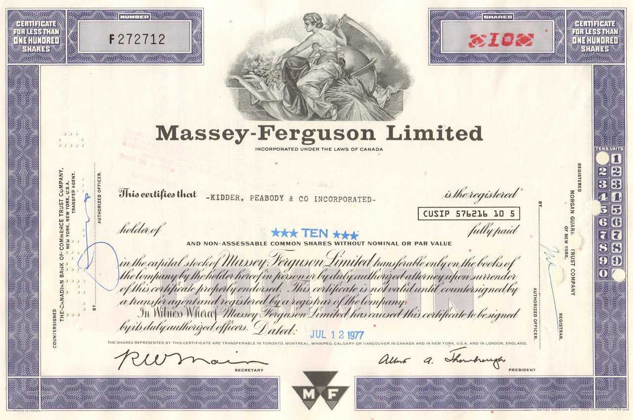 Massey-Ferguson Limited /> Set of 4 Canada share stock certificate