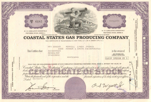Coastal States Gas Corporation stock certificate - purple