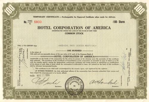 Hotel Corporation of America temporary stock certificate