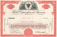 Hotel Corporation of America stock certificate 1950's