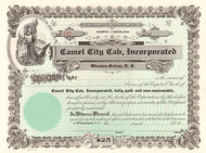 Camel City Cab Incorporated stock certificate circa 1972 (Winston-Salem, NC)