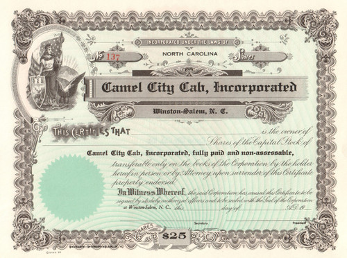 Camel City Cab Incorporated stock certificate circa 1972 (Winston-Salem, NC)