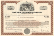 Dow Chemical Company bond certificate 1970's - brown