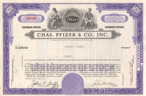 Chas. Pfizer & Co. stock certificate 1960 - purple