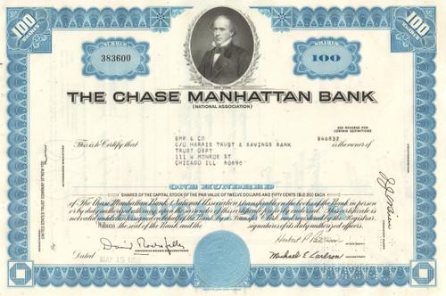 Chase Manhattan Bank stock certificate 1960's  (David Rockefeller) - blue