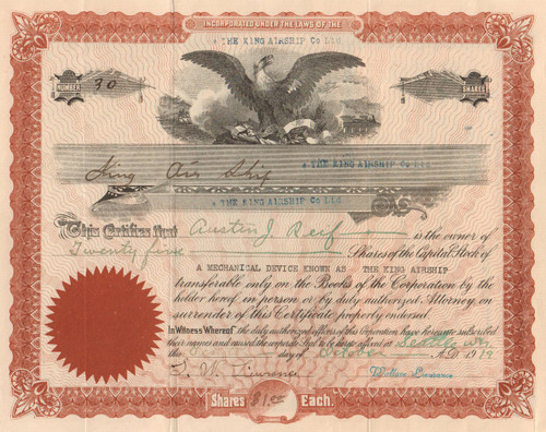 King Airship Company Ltd stock certificate 1919 (Seattle Washington)
