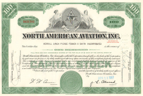 North American Aviation Inc stock certificate 1967 (now Boeing)
