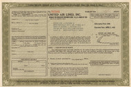United Air Lines preferred stock warrant certificate 1952