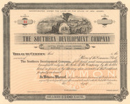 Southern Development stock certificate circa 1875