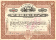 Sterling Gum Company Inc. stock certificate 1914