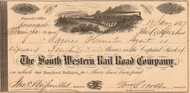 South Western Rail Road Company Inc. stock certificate 1877