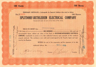Splitdorf-Bethlehem Electrical Company stock certificate 1928, issued to Charles Edison
