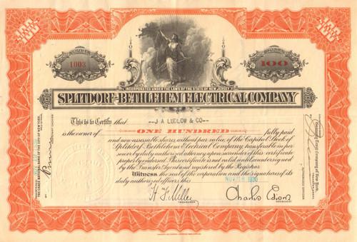 Splitdorf-Bethlehem Electrical Co.stock certificate - Charles Edison as president 1930