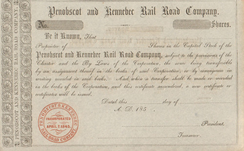 Penobscot and Kennebec Rail Road Company  stock certificate 1850's